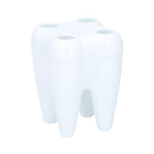 Tandenborstel houder tand/kies vorm 9,5 cm - Tandenborstelhouder voor 4 tandenborstels