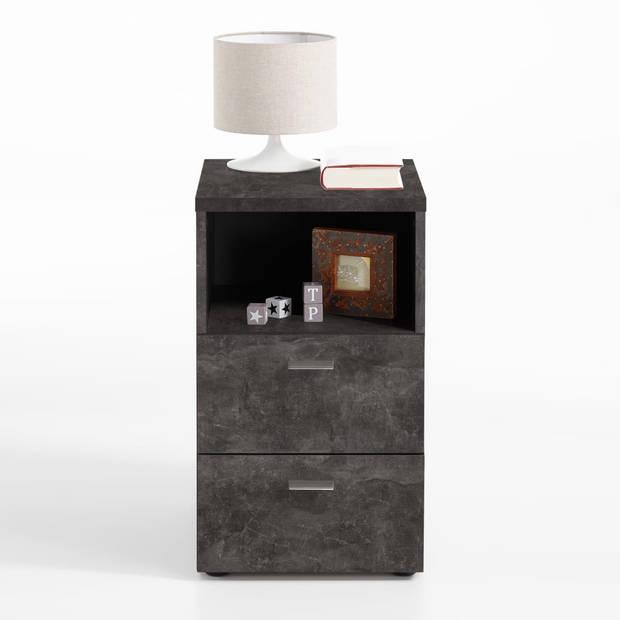 FMD Nachtkastje met 2 lades en open schap donker betongrijs