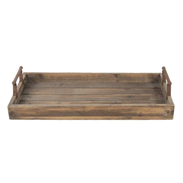 Clayre & Eef - dienblad 63*31*12 cm - bruin - hout/ metaal - rechthoekig - 5H0379M