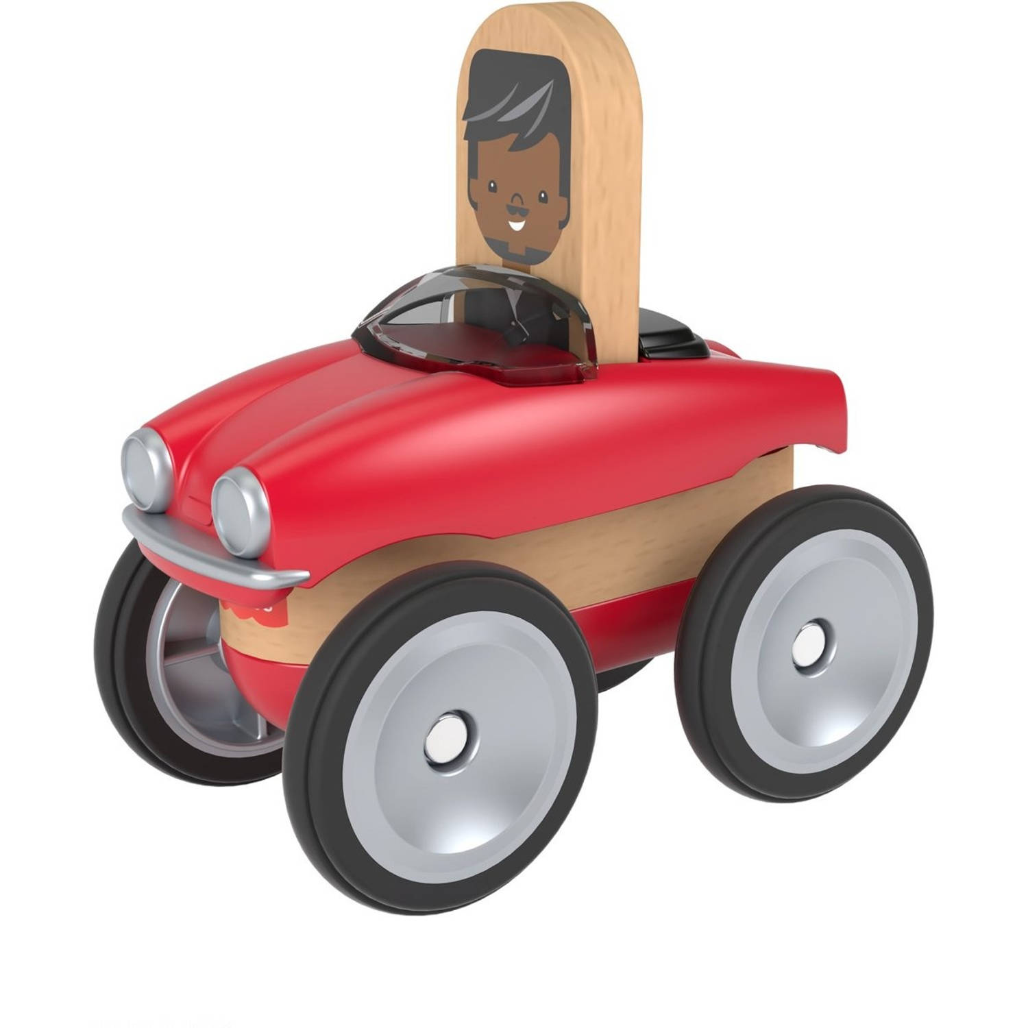 Fisher Price Wonder Makers auto 9 cm rood/blank 4 delig