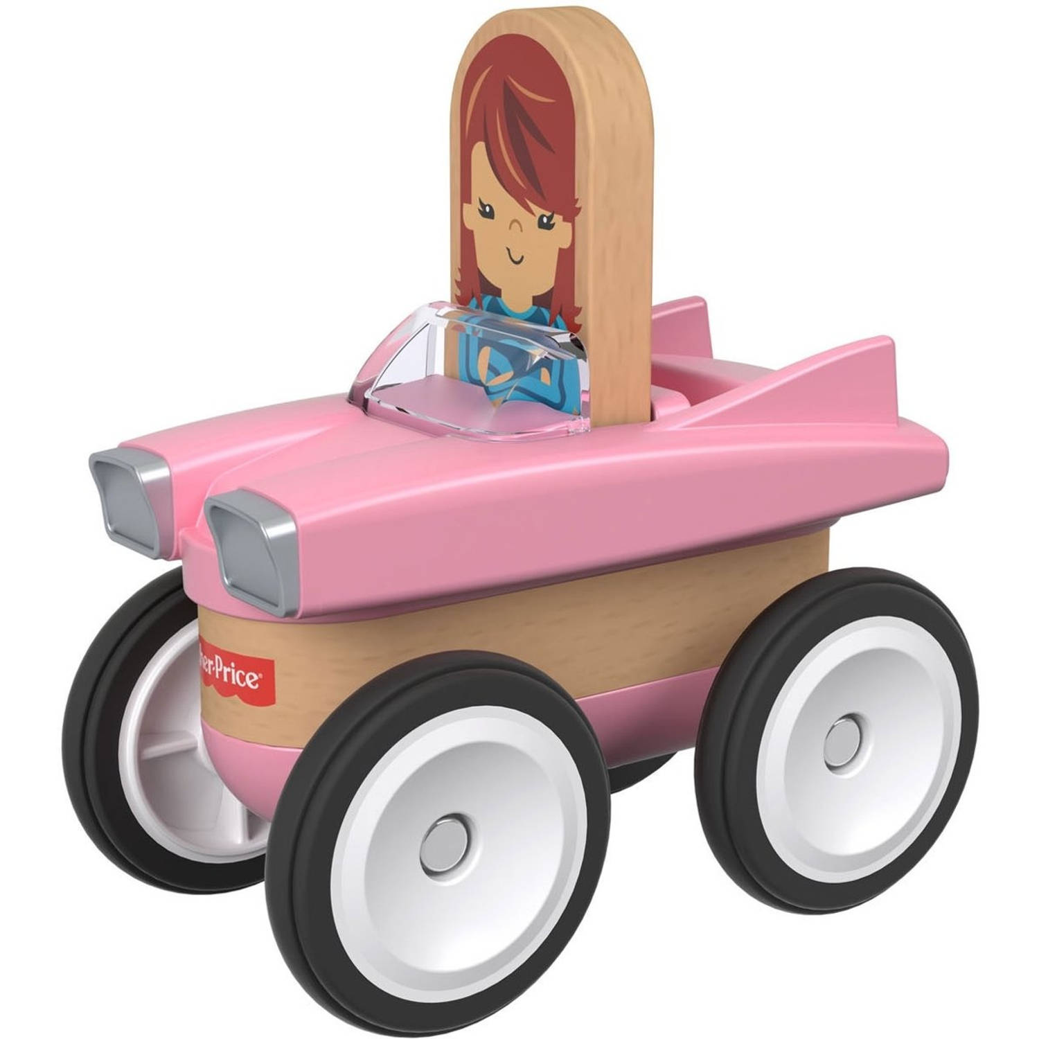 Fisher Price Wonder Makers auto 9 cm roze/blank 4 delig