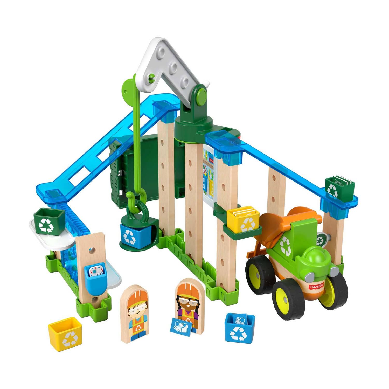 Fisher Price bouwpakket Wonder Makers Recycling Centrum hout 35 delig