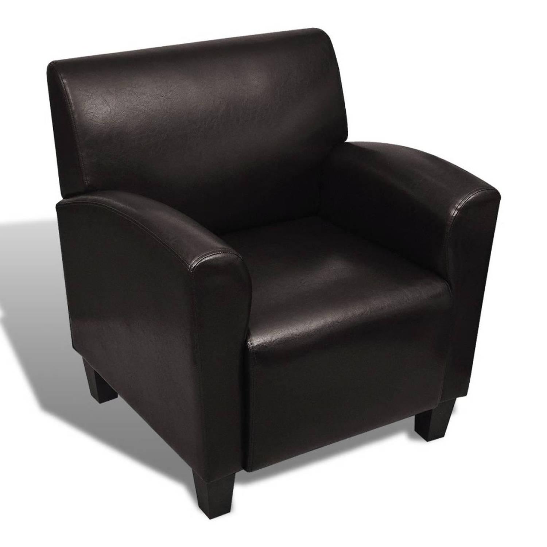 Leunstoel fauteuil kunstleer (donkerbruin)