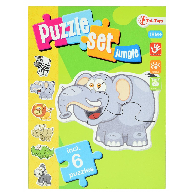 Toi Toys jungle puzzelset incl 6 puzzels