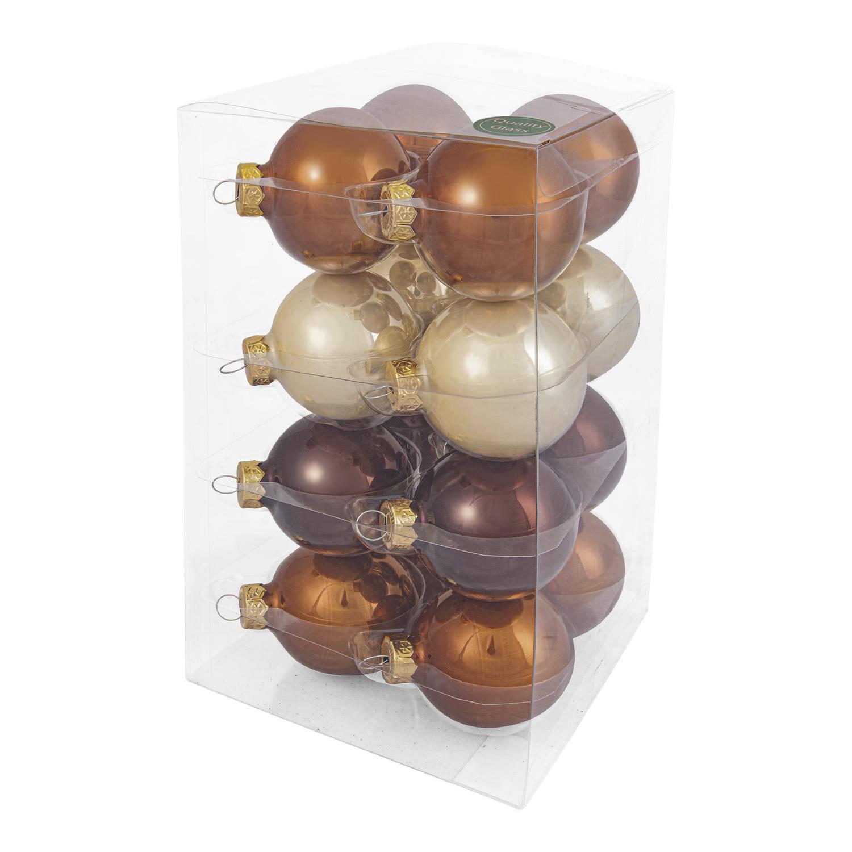 Decosy Glas Kerstballen (6cm) Box 16 Stuks Opal Natural Combi