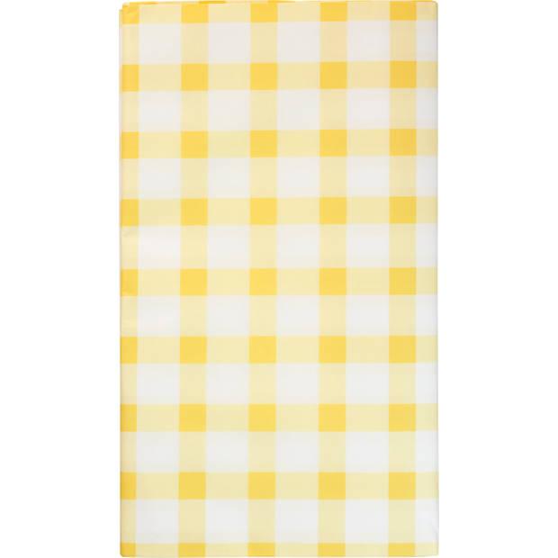 Blokker Tafelkleed Ruit Geel, 138x220 Cm