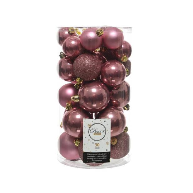 Kerstballen Mix 34 st. - Velours Roze