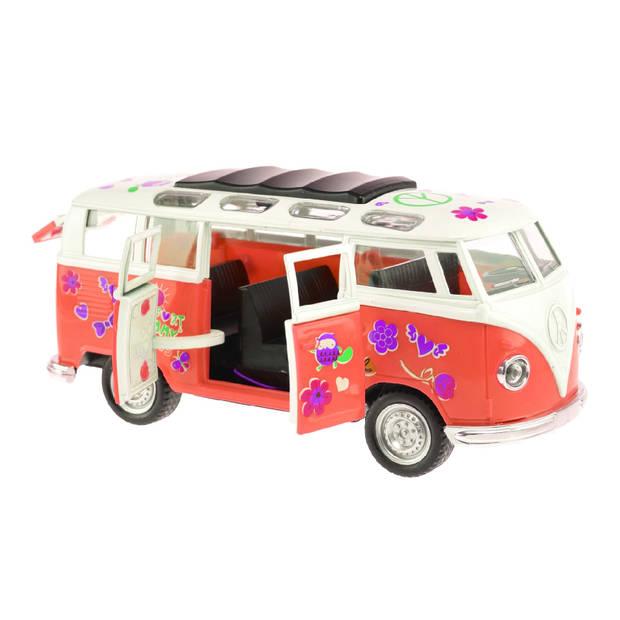 Toi-Toys Flower Power bus rood 18 cm