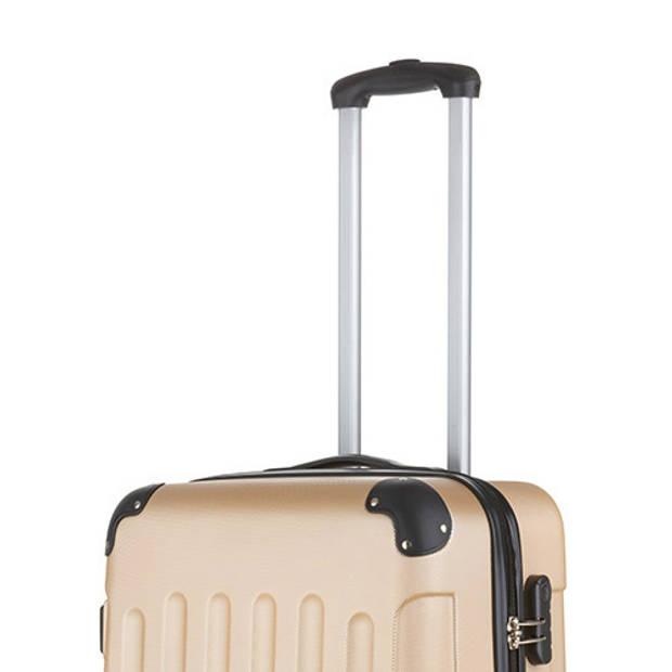 TravelZ - Lichtgewicht ABS koffer - Reiskoffer Trolley 66cm - Gevoerde binnenkant - Champagne