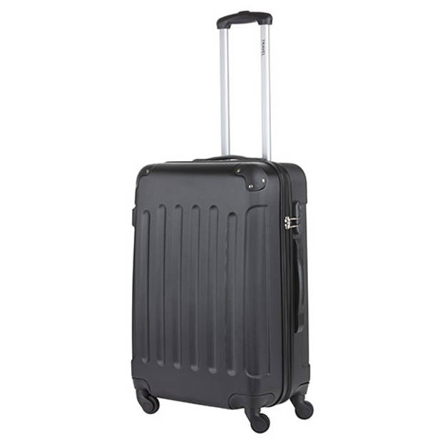 TravelZ - Lichtgewicht ABS koffer - Reiskoffer Trolley 66cm - Gevoerde binnenkant - Zwart