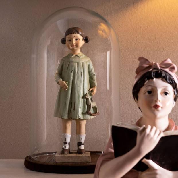 Decoratie beeld meisje - 8*6*23 cm - bruin - kunststof - kind - Clayre & Eef - 6PR1163