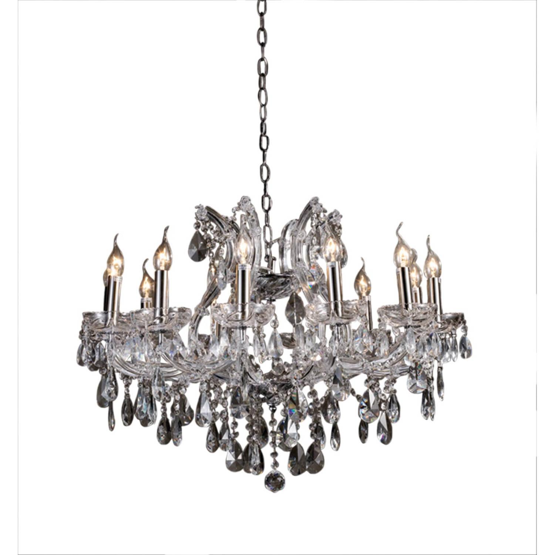 Clayre & Eef Kristallamp chroom-helder 12-lichts 57-170xØ75cm 12x E14-40w