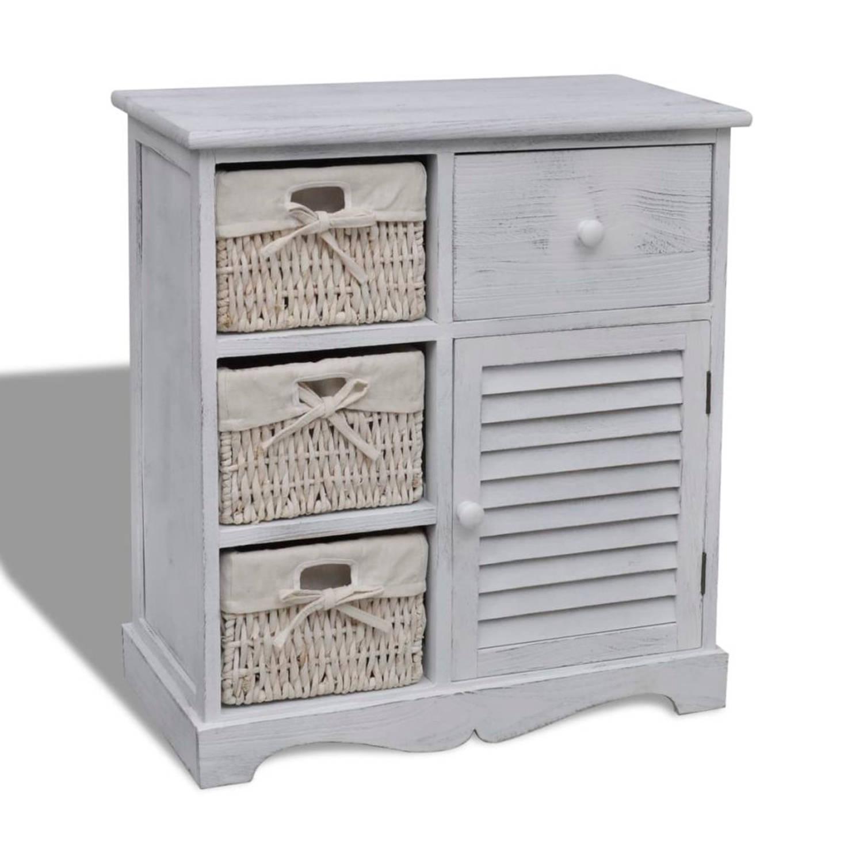 Witte houten opbergkast met 3 rieten manden