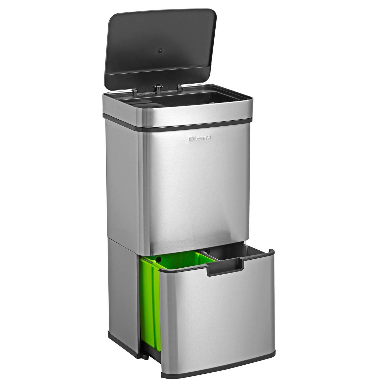 Dagaanbieding - Homra Nexo Prullenbak - Met sensor - 72L (2x12 + 48 Liter) - RVS dagelijkse koopjes