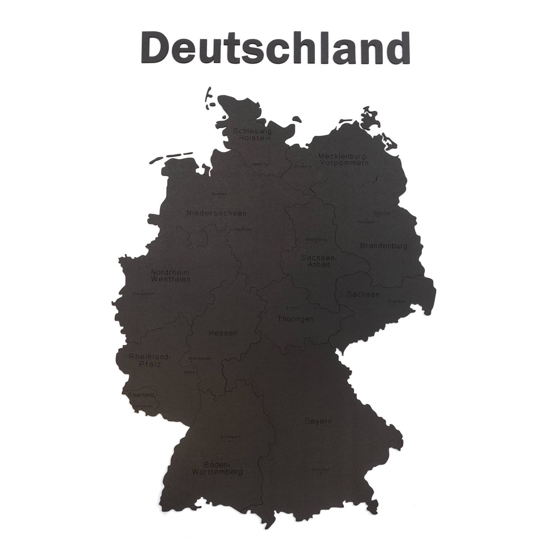 Mimi Innovations Luxe Houten Landkaart - Muurdecoratie - Deutschland - 102x66 Cm/40.2x26 Inch - Zwar