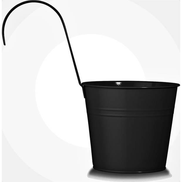 Balkonpot Metaal Mat Zwart Dia 16 cm