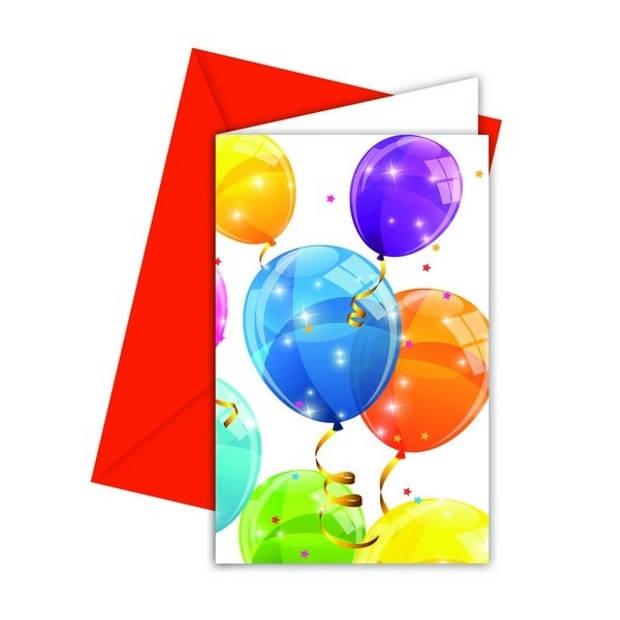 Procos uitnodigingen ballonnen 16 x 12 cm multicolor 6 stuks