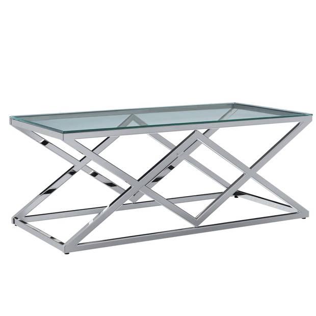 vidaXL Salontafel 120x60x45 cm gehard glas roestvrij staal transparant