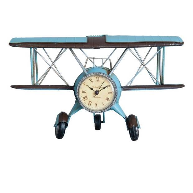 Klok - 30*14*18 cm / 1*aaa - blauw - ijzer - rond - vliegtuig - Clayre & Eef - 6Y2003