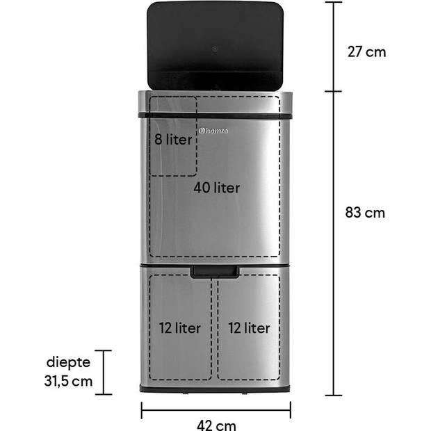 Homra NEXO Prullenbak met Sensor - 3 vakken - 72L - RVS