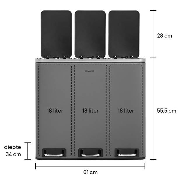 Homra SPARQ afvalscheiding prullenbak 3x18L - pedaalemmer 54L - Grijs