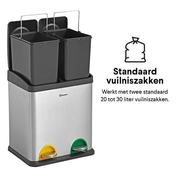 Homra STEPHS afvalscheiding Prullenbak - 2 vakken - 30L - RVS