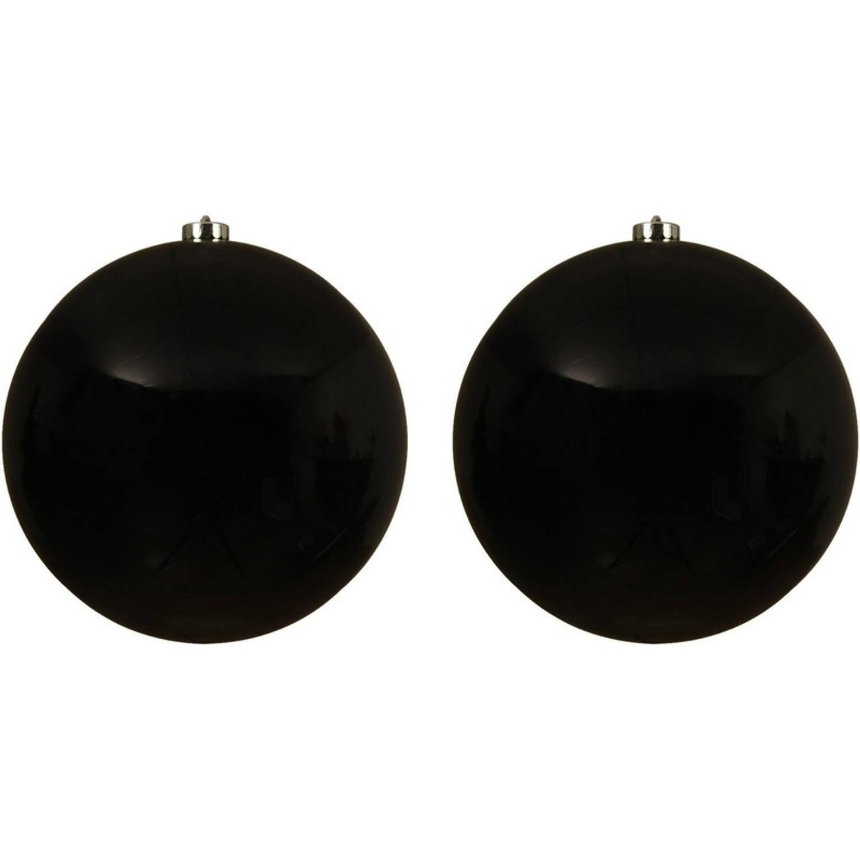 2x Grote zwarte kunststof kerstballen van 20 cm glans zwarte kerstboom versiering