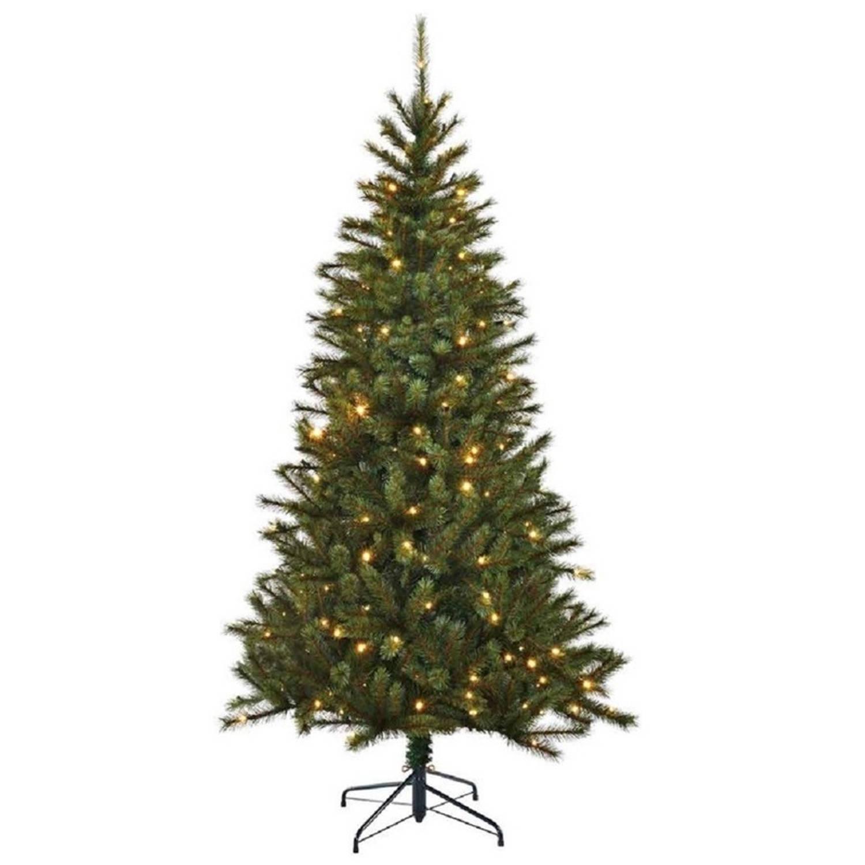 Kunst kerstboom Kingston Black Box 767 tips met Kerstverlichting 215 cm