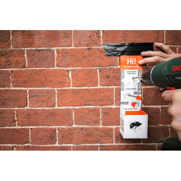 Clug Plus Fiets Clip voor de muur - Wit/Oranje