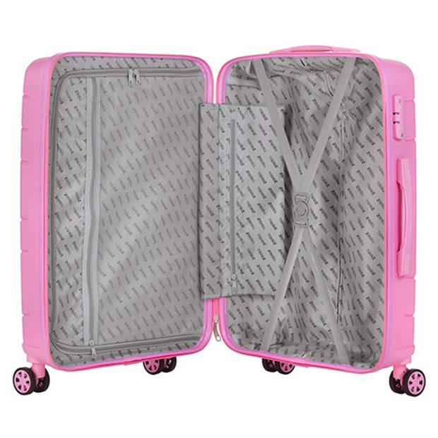 TravelZ Big Bars handbagagekoffer - 55cm Trolley met dubbele wielen - TSA slot - Barbie Roze