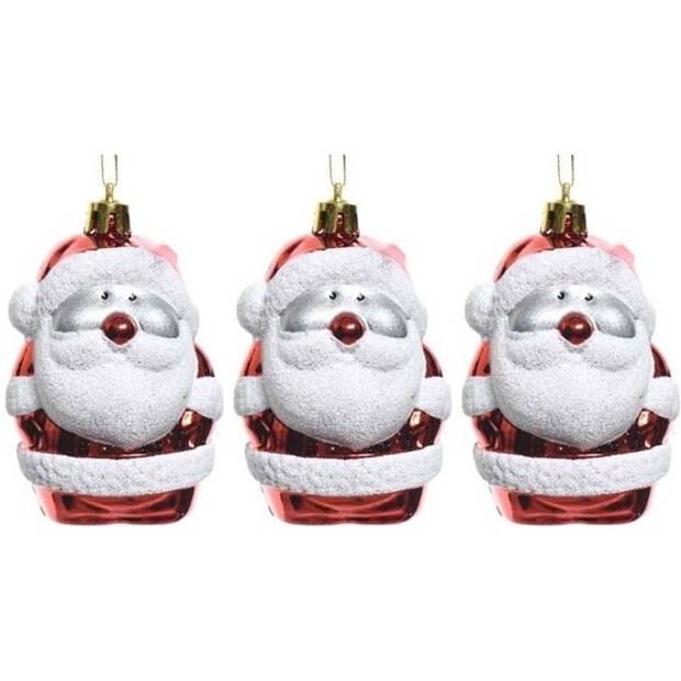 3x Kersthangers figuurtjes kerstman rood 8 cm - Kerstmannen thema kerstboomhangers