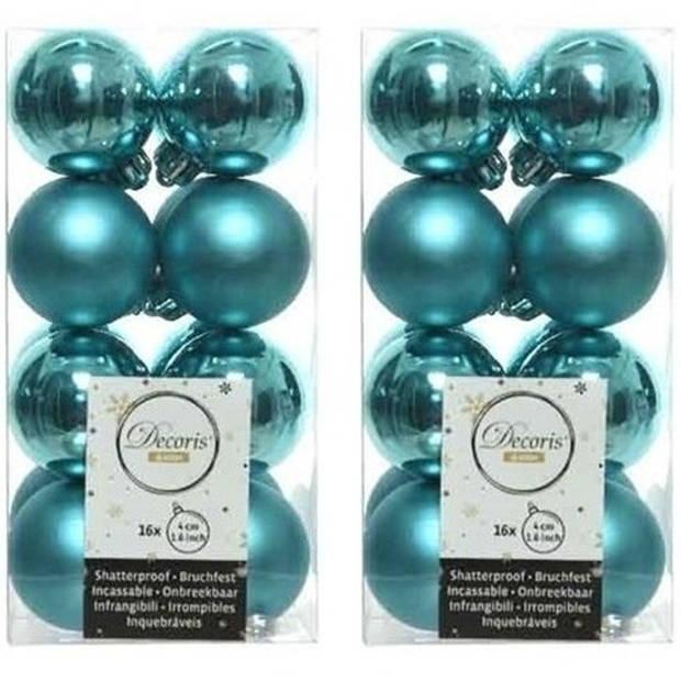 32x Turquoise kunststof kerstballen 4 cm - Mat/glans - Onbreekbare plastic kerstballen - Kerstboomversiering turquoise
