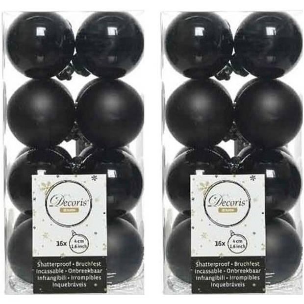32x Zwarte kunststof kerstballen 4 cm - Mat/glans - Onbreekbare plastic kerstballen - Kerstboomversiering zwart