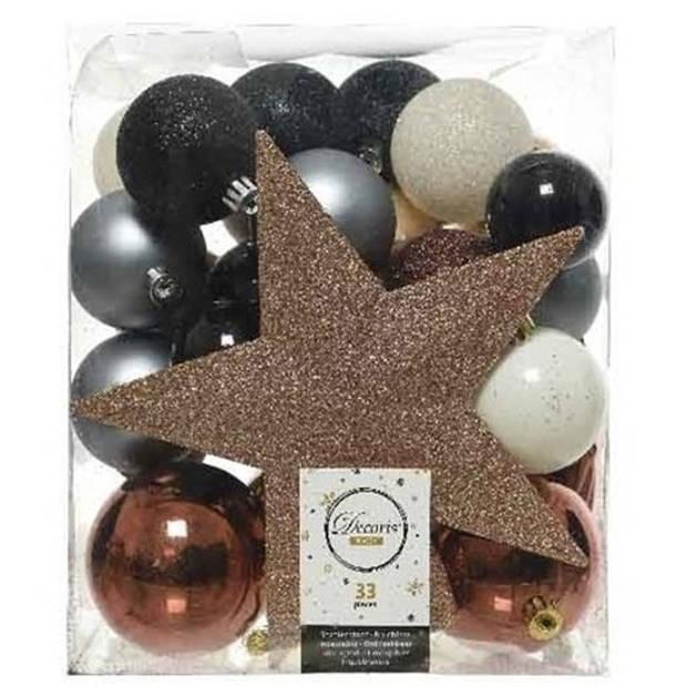 33x Blauw/champagne/bruine kunststof kerstballen 5-6-8 cm - Mix - Onbreekbare plastic kerstballen