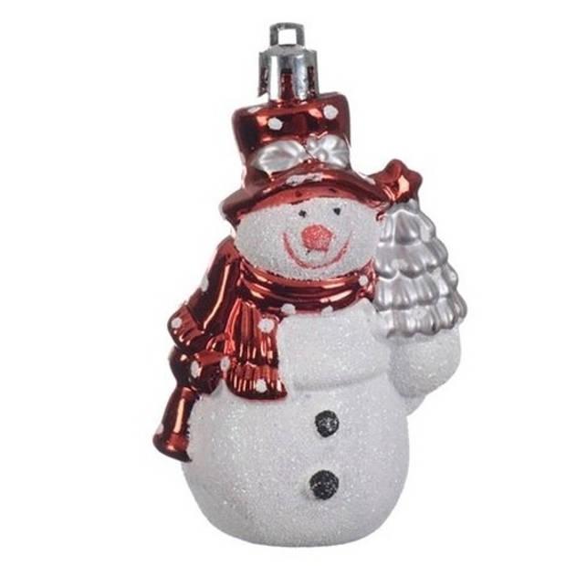 2x Kersthangers figuurtjes sneeuwpop rood 8 cm - Sneeuwpoppen thema kerstboomhangers
