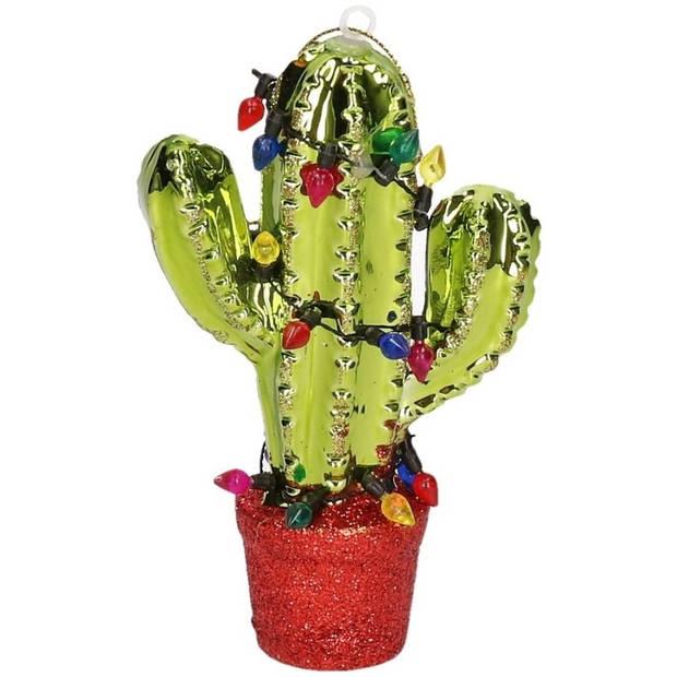 1x Kersthangers figuurtjes rode cactus met glitters 12,5 cm - kerstboomhangers