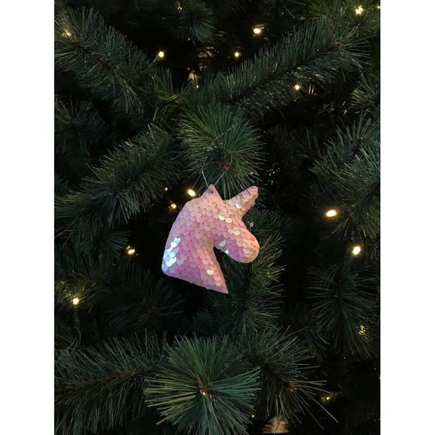 3x Kersthangers figuurtjes eenhoorn roze met pailletten 7 cm - Eenhoorn thema kerstboomhangers 3 stuks