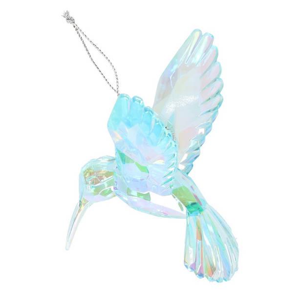 1x Kersthangers figuurtjes iriserende groene Kolibrie 10 cm - Kerstboomversieringen