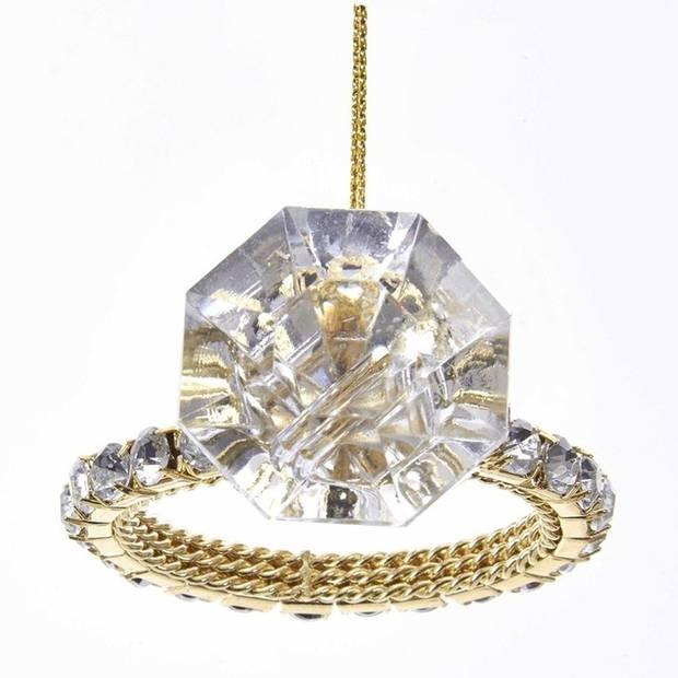 1x Kersthangers figuurtjes diamanten ring 8 cm - Kerstboomversieringen