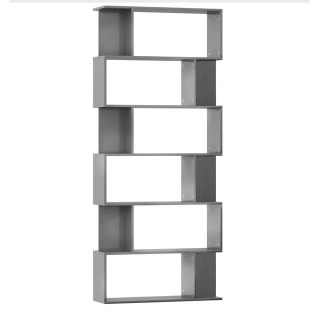 vidaXL Boekenkast/kamerscherm 80x24x192 cm spaanplaat hoogglans grijs