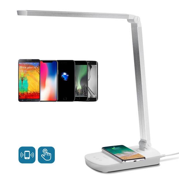 Aigostar Mona LED bureaulamp - USB oplaadpoort - Qi draadloos opladen - Tafellamp - Wit