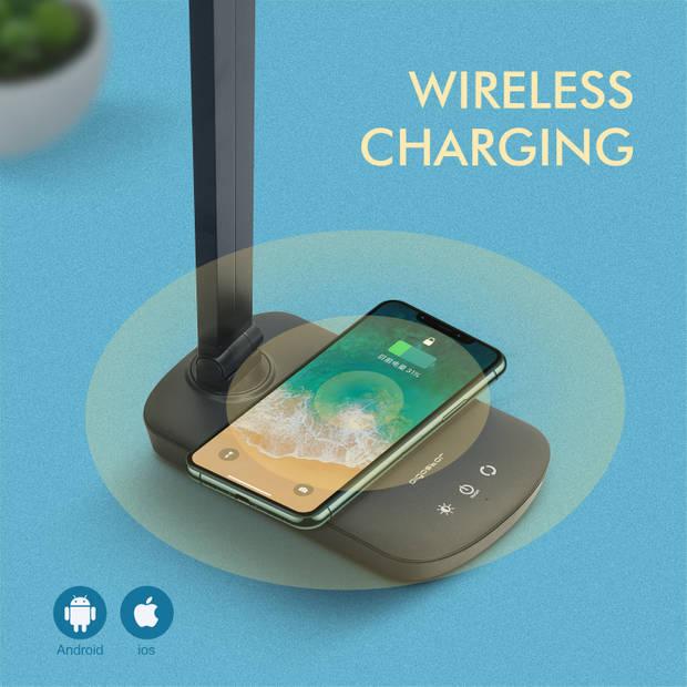 Aigostar Owen LED bureaulamp - USB oplaadpoort - Qi draadloos opladen - Tafellamp - Zwart