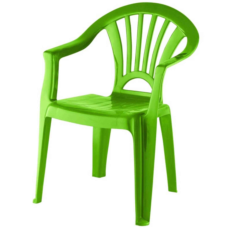 Groen Stoeltje Voor Kinderen 51 Cm - Tuinmeubelen - Kunststof Binnen/buitenstoelen Voor Kinderen