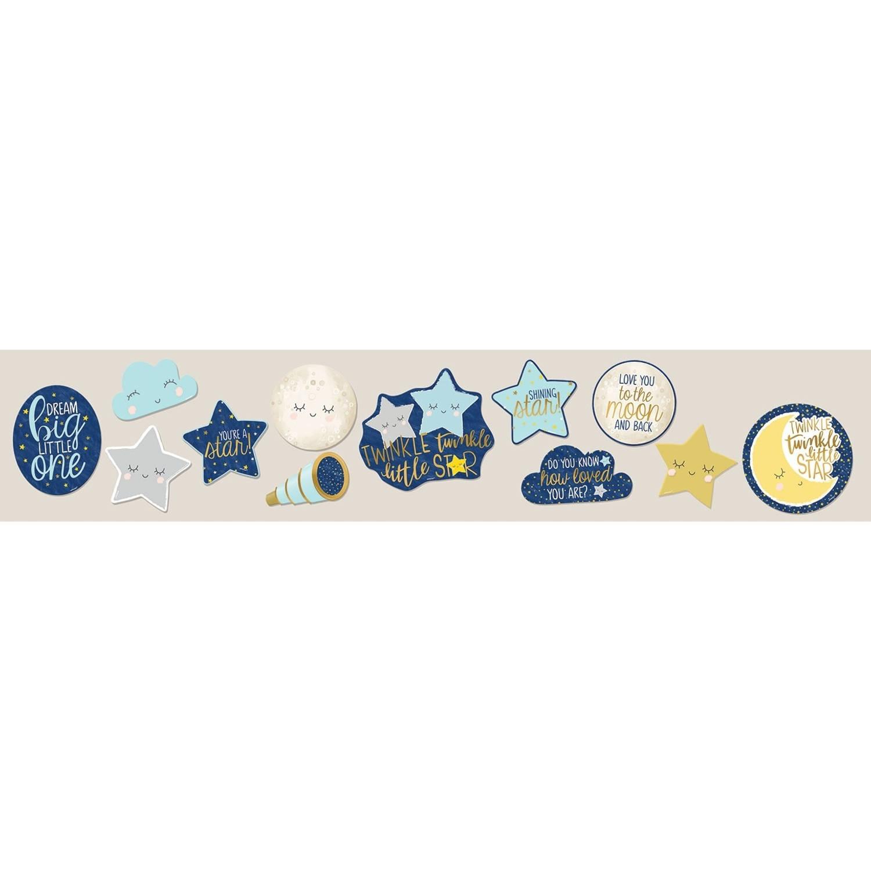 Amscan Muurdecoratie 'Twinkle Little Star' Blauw/grijs 12 Stuks