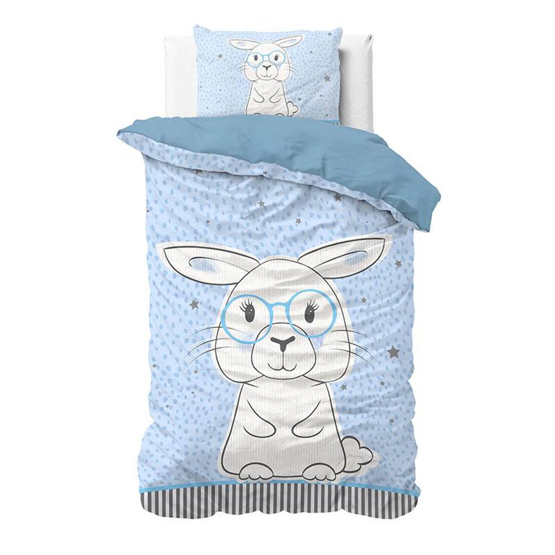 Korting Dreamhouse Bedding Rabbit Dekbedovertrek Katoen 1 persoons (140x200 Cm plus 1 Sloop) Blue