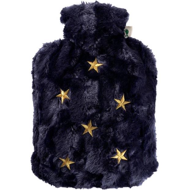 Pluche kruik navyblauw met gouden sterren met inhoud van 1,8 liter - Warmwaterkruiken met bonten/pluche hoes/kruikenzak