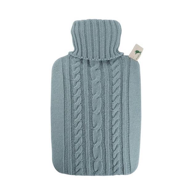 Luxe kruik pastel blauw met inhoud van 1,8 liter - Warmwaterkruiken met gebreide hoes/kruikenzak