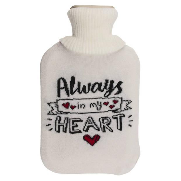Creme kruik met hoes Always in my heart 2 liter - Warmwater kruiken - Kruiken voor koude winterdagen