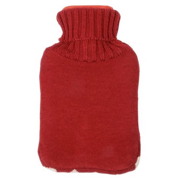 Rode kruik met hartjes hoes 0,75 liter - Warmwaterkruik met pluche hoes/kruikenzak - Valentijn cadeaus