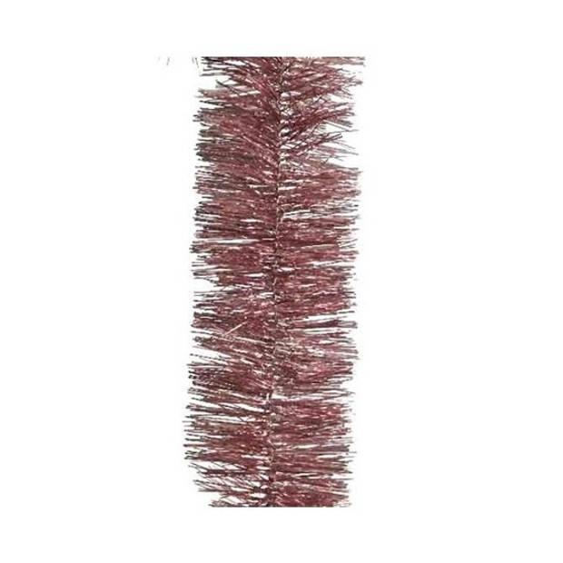 1x Kerstslingers oud roze 270 cm - Guirlande folie lametta - Oud roze kerstboom versieringen
